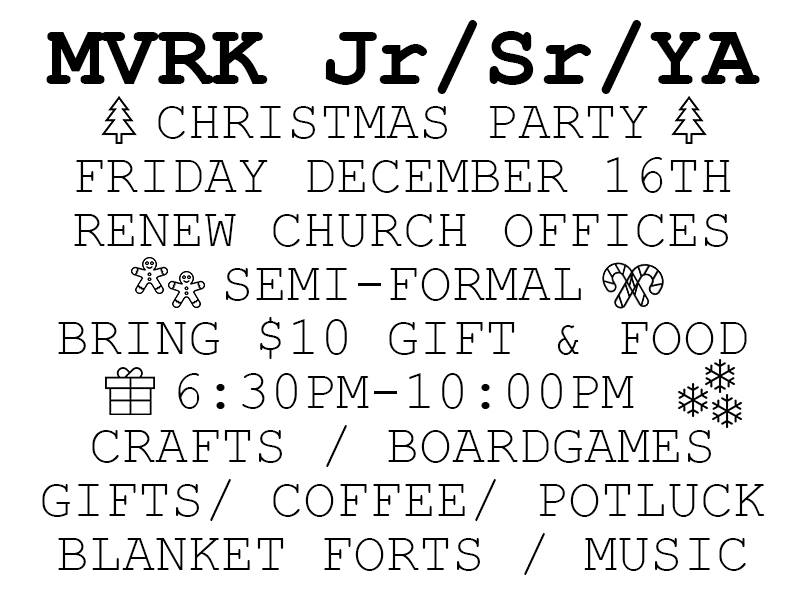 MVRK Youth Christmas Party