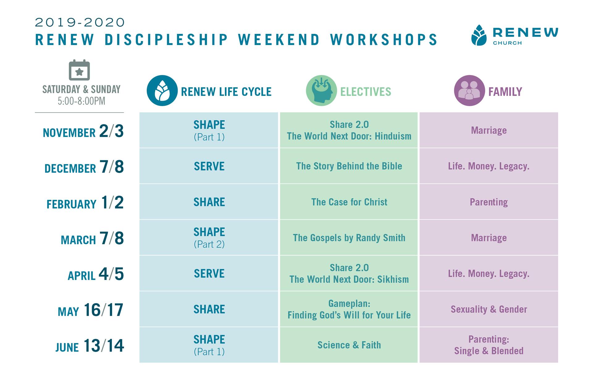 Weekend Workshop Calendar